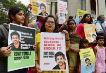 A protest over the death of Rohit Vemula