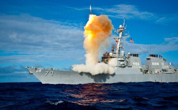 Aegis class destroyer USS Hopper launches a Standard Missile