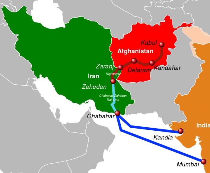 India-Iran-Afghanistan transit corridor map
