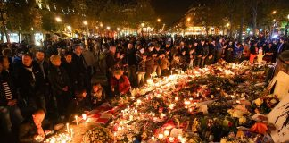 in remembrance of November 2015 Paris attacks victims