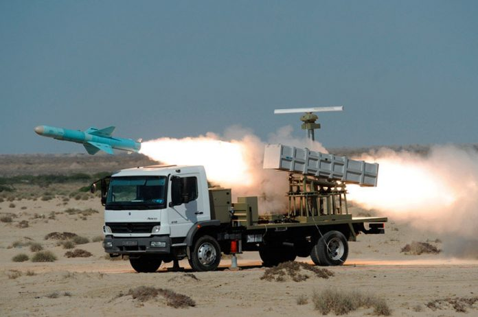 Firing Nasr-1 Missile from a truck launcher