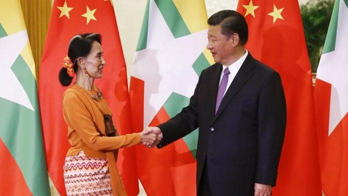 Chinese president Xi Jinping meets Aung San Suu Kyi.