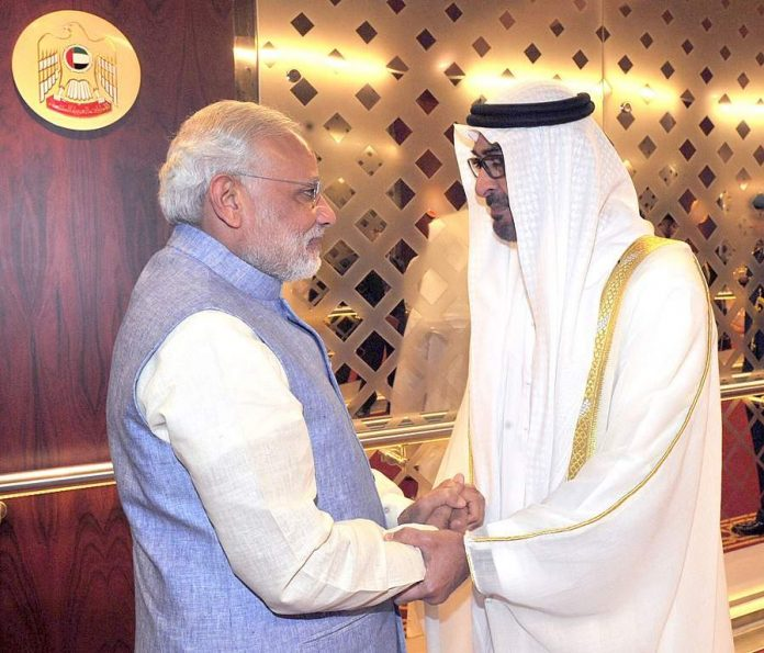 Prime Minister Narendra Modi being received by Abu Dhabi Crown Prince Mohammed bin Zayed
