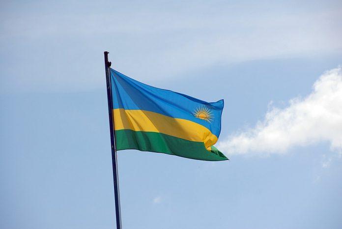 Rwanda Flag in the sky