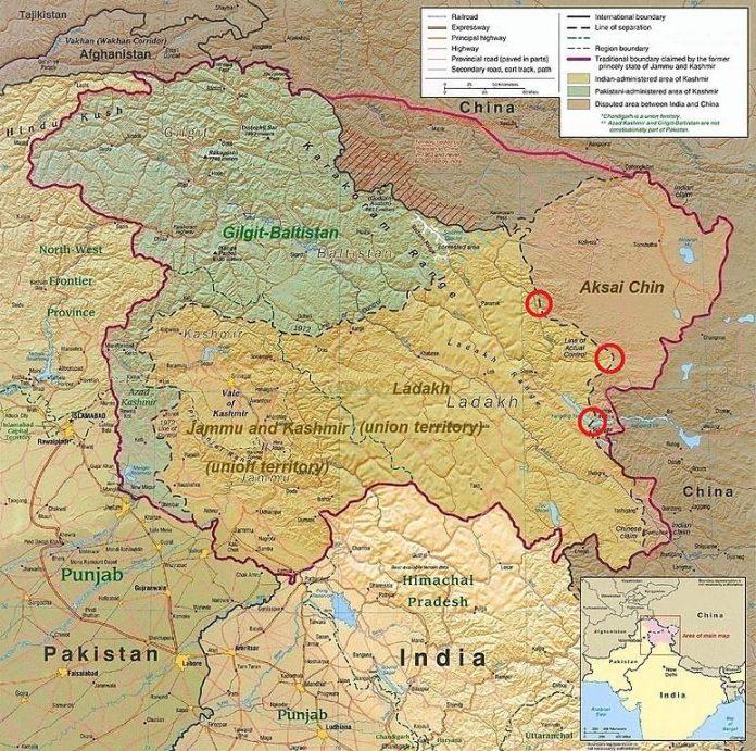 India-China border map LAC