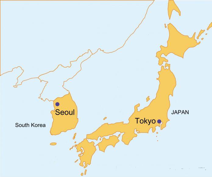 Japan South Korea Map