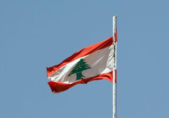 Lebanese flag floating