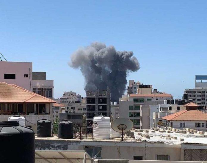 The Israeli bombing of civilian buildings in Gaza strip