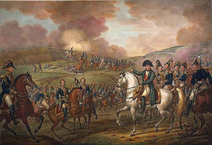 Napoleon in Battle of Moskowa by Vernet