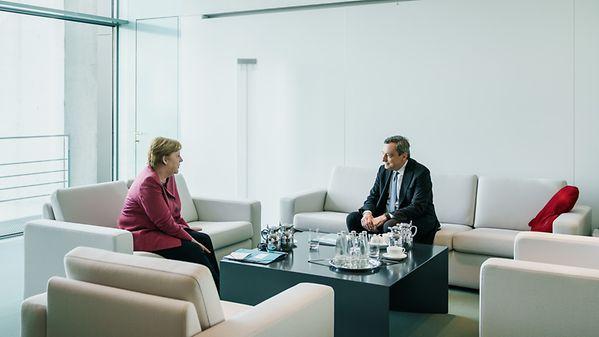 German Chancellor Merkel and Italy's PM Mario Draghi