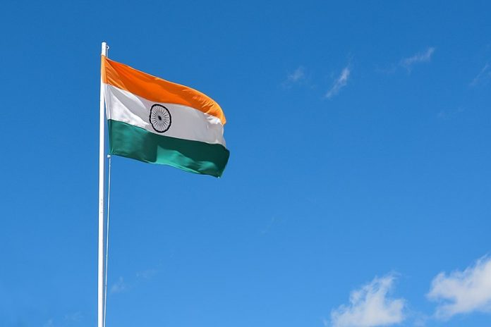 Waving Indian Flag in the sky