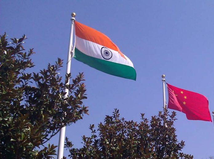 India China flags