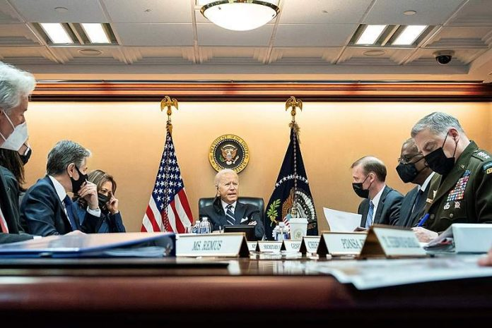 President Joe Biden addresses his national security team